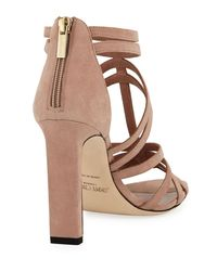 Jimmy Choo - Pink Selina Strappy Suede Sandal - Lyst