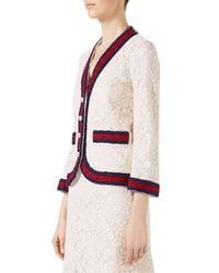 622ec1d9d Lyst - Gucci Cluny Lace Jacket With Web