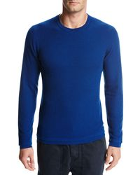 Vince - Blue Double-layer Wool Crewneck Sweater for Men - Lyst