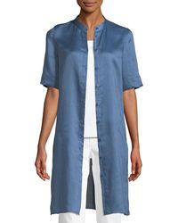 Lafayette 148 New York - Blue Randi Button-front Gemma Cloth Tunic - Lyst