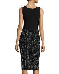 Lela Rose | Black Speckled Tweed Sleeveless V-neck Dress | Lyst