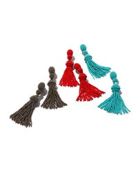 Oscar de la Renta - Red Long Beaded Tassel Clip-on Earrings - Lyst