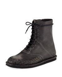 Bottega Veneta - Gray San Crispino Intrecciato Lace-up Boot - Lyst