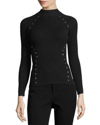 Thierry Mugler - Black Star-stud Mock-neck Sweater - Lyst