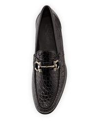 Ferragamo - Black Mason 2 Crocodile Gancini Loafer for Men - Lyst