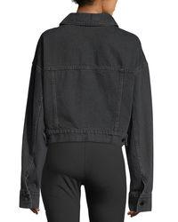 T By Alexander Wang - Black Cropped Oversized Denim Jacket - Lyst
