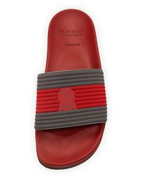 Brunello Cucinelli Red Striped Slide Sandal for men