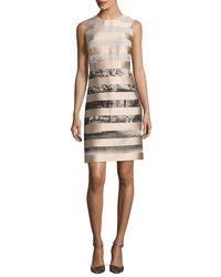Fendi - Natural Satin-striped Shift Dress - Lyst