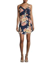 Joie - Blue Foxglove Floral-print Silk Wrap Dress - Lyst