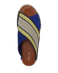 Diane von Furstenberg - Blue Flat Crisscross Espadrille Slide Sandal - Lyst
