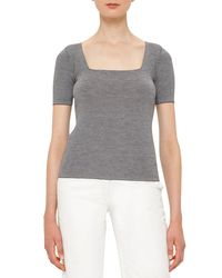 Akris Punto - Blue Micro-stripe Cool Wool Short-sleeve Top - Lyst