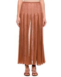 Valentino - Natural Pleated Chiffon Lace Maxi Skirt - Lyst