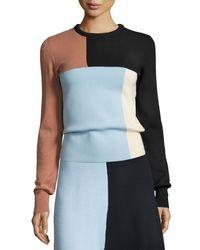 Cedric Charlier - Multicolor Colorblock Knit Crewneck Sweater - Lyst