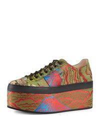 Gucci - Multicolor Peggy Jacquard Platform Sneaker - Lyst