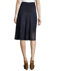 Tahari - Blue Lorie Pleated A-line Skirt - Lyst