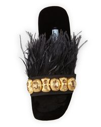 Prada - Black Feather-embellished Flat Slide Sandal - Lyst