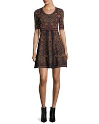 M Missoni - Black Elbow-sleeve Floral Jacquard Knit Dress - Lyst