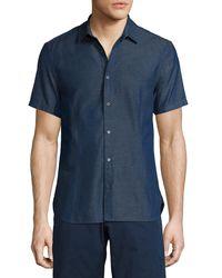 Orlebar Brown | Blue Morton Chambray Tailored Short-sleeve Sport Shirt for Men | Lyst