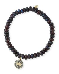 Sydney Evan - Red Faceted Garnet Beaded Bracelet With Diamond Lotus Charm - Lyst