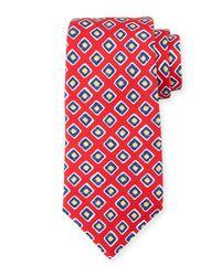 Kiton Red Square-print Silk Tie for men