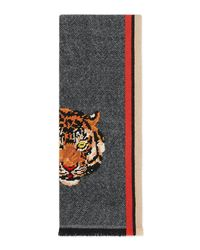 Gucci - Multicolor Wool Cashmere Scarf With Tiger - Lyst