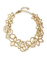 Oscar de la Renta - Metallic Intertwined Floral Statement Necklace - Lyst
