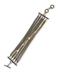 Armenta - Black Old World Multi-chain Bracelet With Diamonds - Lyst