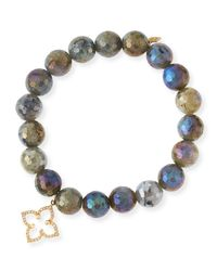 Sydney Evan - Multicolor Coated Labradorite Faceted Bead Bracelet With Diamond Moroccan Flower Charm - Lyst