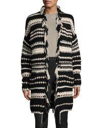 Iris Von Arnim - Black Hand-knit Long Open Cardigan - Lyst