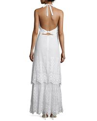 Miguelina - White Edna Crocheted-lace Halter Cotton Maxi Dress - Lyst