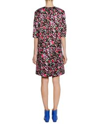 Marni - Red Short-sleeve Abstract-print Cotton Woven Dress - Lyst