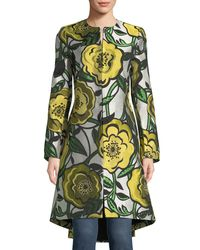 Alice + Olivia - Yellow Liza Bell-sleeve Hook-front Floral-jacquard Coat - Lyst