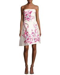 Monique Lhuillier - Pink Strapless Cherry Blossom-print Cocktail Dress - Lyst