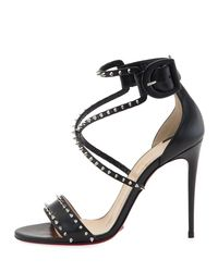Christian Louboutin - Black Choca Spikes Red Sole Sandal - Lyst