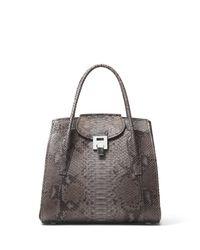 Michael Kors | Gray Bancroft Large Expandable Python Tote Bag | Lyst