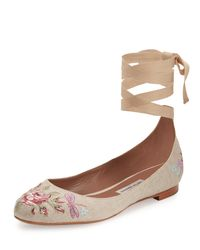 Tabitha Simmons - Brown Daria Embroidered Linen Ankle-wrap Flat - Lyst