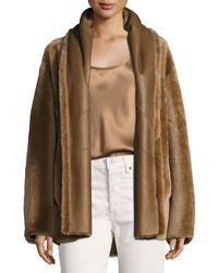 Vince - Brown Shawl Collar Reversible Shearling Coat - Lyst