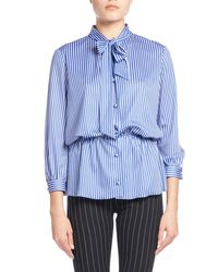 Balenciaga - Blue Striped Tie-neck Gathered-waist Blouse - Lyst