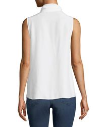 FRAME - White Sleeveless Silk Scarf Blouse - Lyst