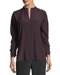 Zero + Maria Cornejo - Purple Ruched-sleeve Band-collar Blouse - Lyst