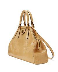 Gucci - Yellow Medium Python Top Handle Bag - Lyst