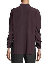 Zero + Maria Cornejo - Purple Ruched-sleeve Band-collar Blouse - Lyst