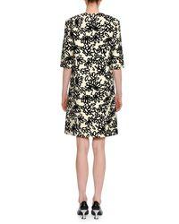 Marni - White Floral-print Half-sleeve Round-neck Shift Dress - Lyst