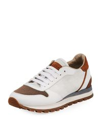 Brunello Cucinelli - White Suede And Leather Runner Sneakers - Lyst