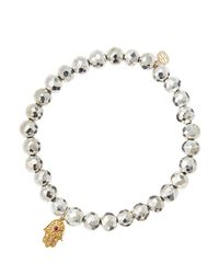 Sydney Evan - Metallic Silver Pyrite Beaded Bracelet With 14K Gold Hamsa Charm (Made To Order) - Lyst
