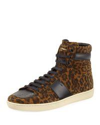 Saint Laurent | Brown Sl/10h Leopard Suede High-top Sneaker for Men | Lyst