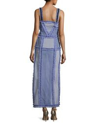 Attico - Blue Patchwork Camisole Maxi Dress - Lyst