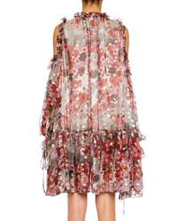 Alexander McQueen - Multicolor Cold-shoulder Feather-print Silk Fil Coupe Peasant Dress - Lyst
