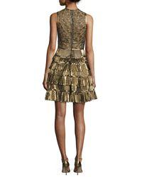Elie Saab | Sleeveless Metallic Star-lace Ruffled Dress | Lyst