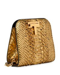 Tom Ford - Metallic Cosmo Python Small T Lock Shoulder Bag - Lyst